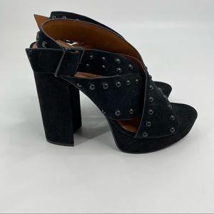 Halston studded block heel suede sandals black